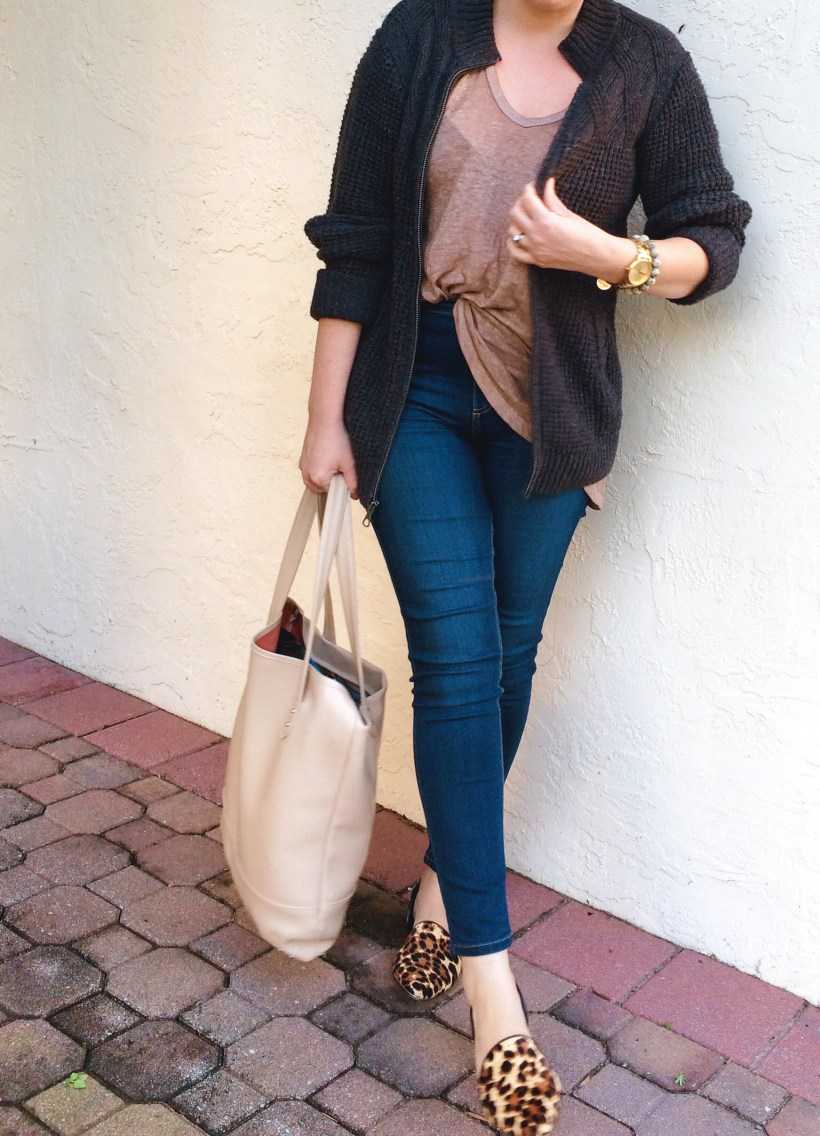 "Casual Style: Men's cardigan with Free People ""Free Fallin"" Tee and High Roller skinnies and leopard d'orsay flats."