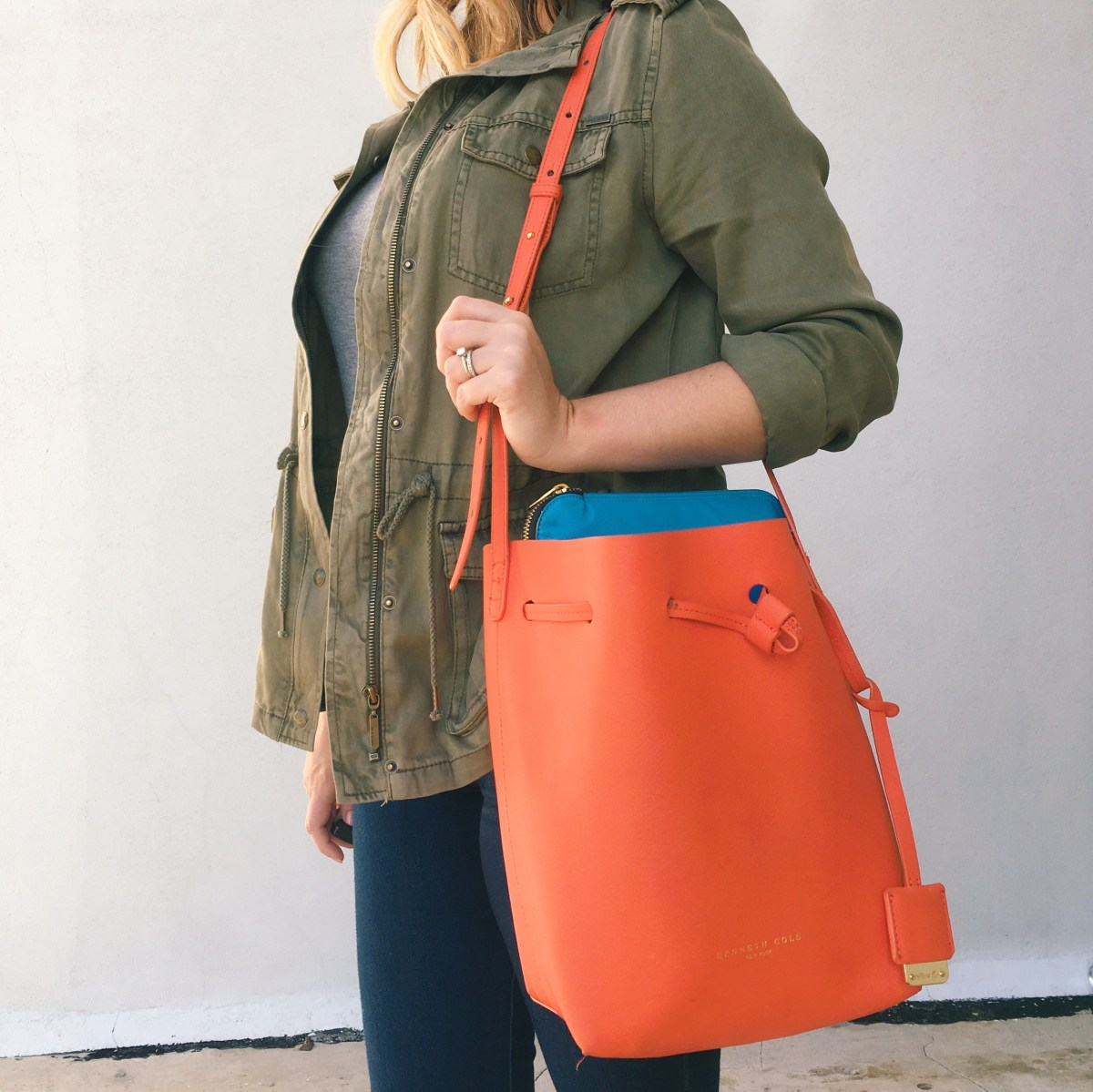 Casual OOTD | TJMaxx utility jacket and Kenneth Cole bucket bag| keiralennox.com