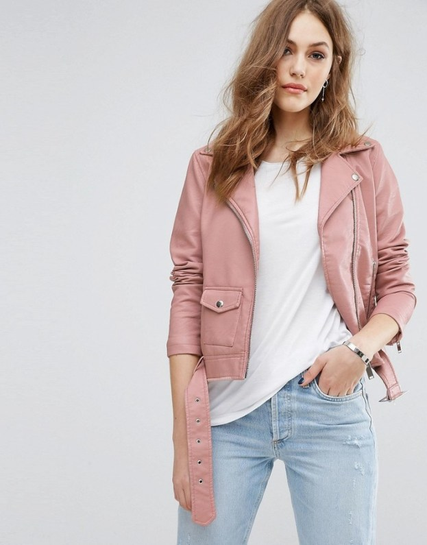 Warehouse Leather Look Biker Jacket • Warehouse • $105