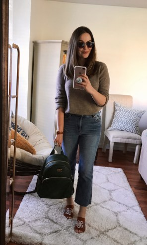Tuesday :: TJ Maxx cashmere sweater + LOFT vintage straight jeans + TJ Maxx embroidered mules