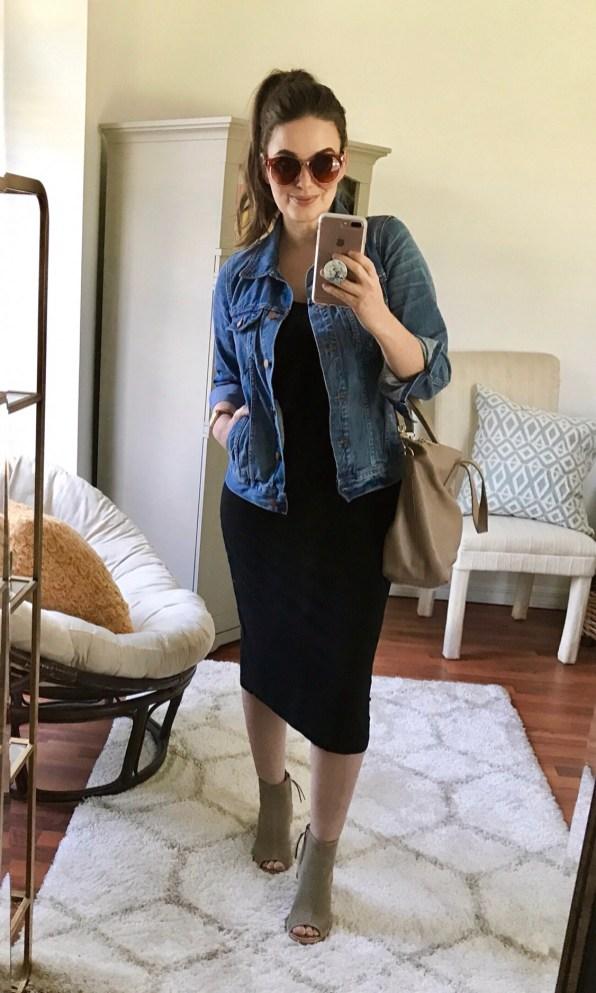 Saturday :: TJ Maxx midi tank dress + Madewell denim jacket + TOMS booties + Cuyana small carryall bag