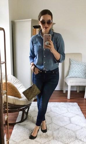 Tuesday :: J.Crew shirt + Hudson jeans (Hautelook) + leather ballet flats
