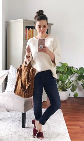 THURSDAY :: LOFT sweater + Hudson 'Nico' skinny jeans + TJ Maxx mules