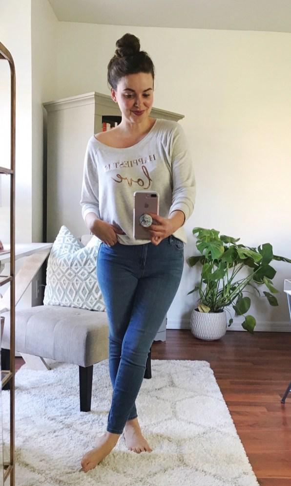 SUNDAY :: cozy sweatshirt c/o Happiest Tee + LOFT performance denim leggings