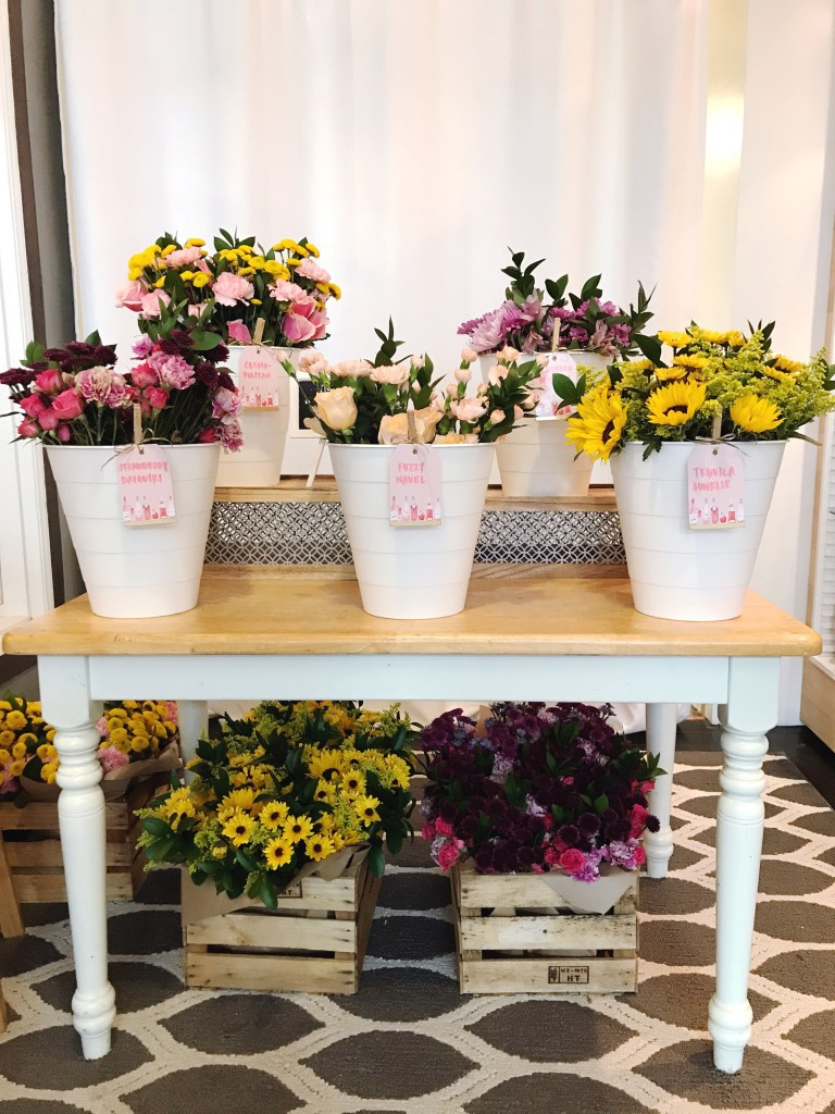 Bouquet Bar Set Up With Wood Crates