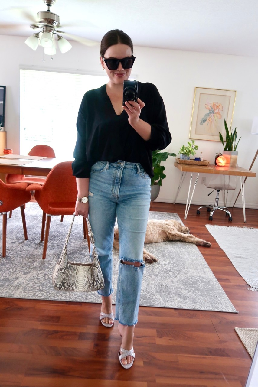 Style blogger wearing black silk Acler blouse with H&M Vintage High Rise Ankle Jeans