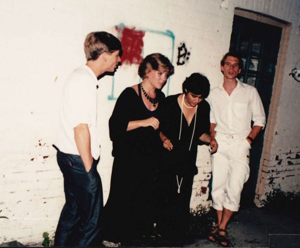 Our Band, Catchpenny, somewhere in Toronto, sometime in the 1980s.  Aruna Handa, Frank Klaassen, Michael Klaassen & me