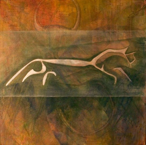 "Chalk Horse, 2014 48""48"", acrylic and mixed media on canvas"