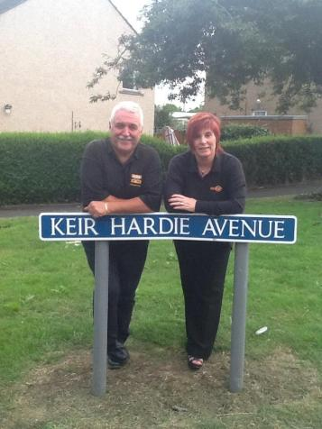 Christina Lambie & Alex McLuckie on Keir Hardie Avenue in Laurieston