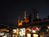 Blue Mosque at night behind the Arasta Bazaar