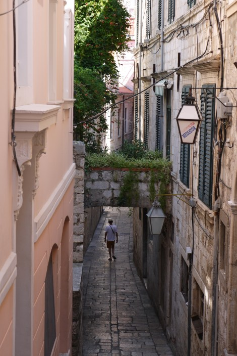 Paved narrow streets and overhead gardens