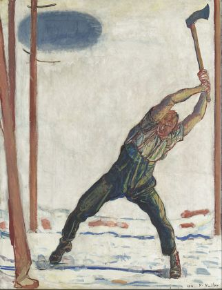 The Woodcutter by Ferdinand Hodler (1910). Early Mendocino logging.