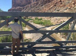 On the Swinging Bridge looking at the San Rafael River