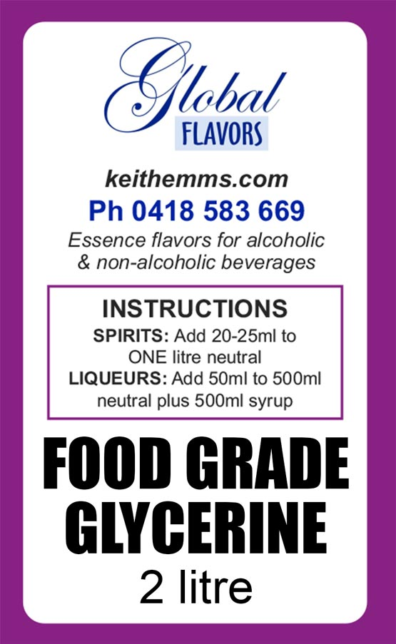 Food Grade Glycerine, spirit essences, spirit essence, home distilling, liqueur essences, liquid smoke, oak chips