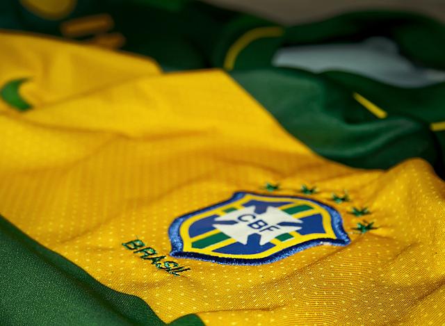 A photograph of a Brazilian football shirt with the CBF logo.