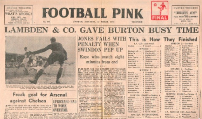 This Football Pink newspaper provides a report of the Swindon Town v Bristol Rovers game that was played on 18 March 1950. It is reported to be Charles' first real-time, hand notation of professional football.