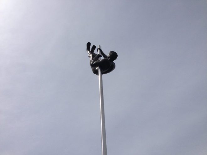 A picture of a pole vaulter. The statue is outside the Australian Institute of Sport at Bruce in canberra.