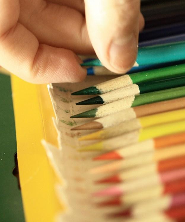 A photograph of coloured pencils