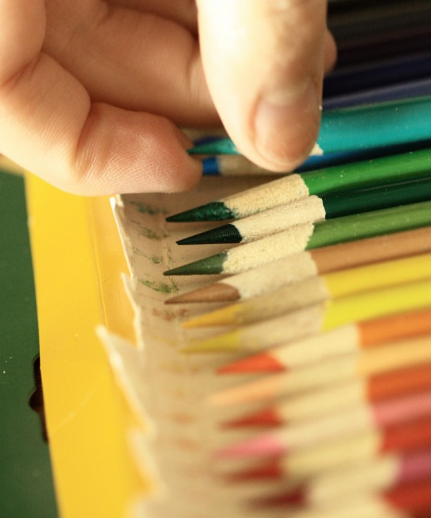 A photograph of coloured pencils