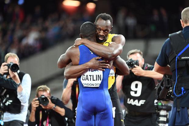 Usain Bolt and Justin Gatlin embrace