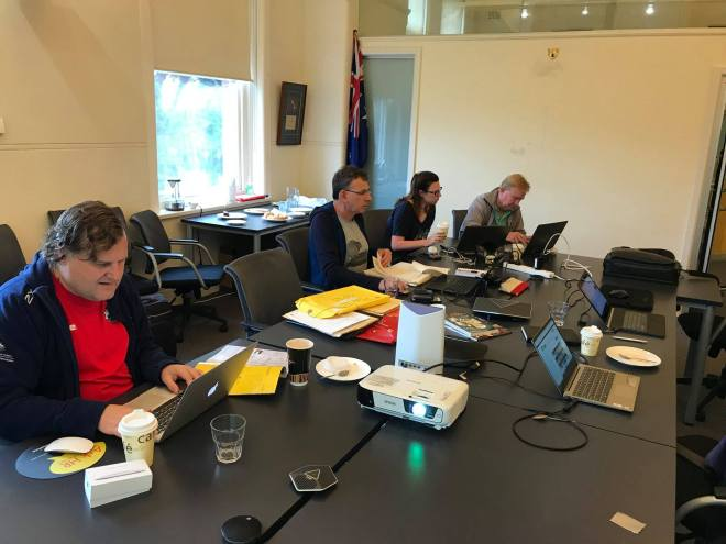 A picture of the APC workshop with four of the participants creating and editing content for Wikipedia
