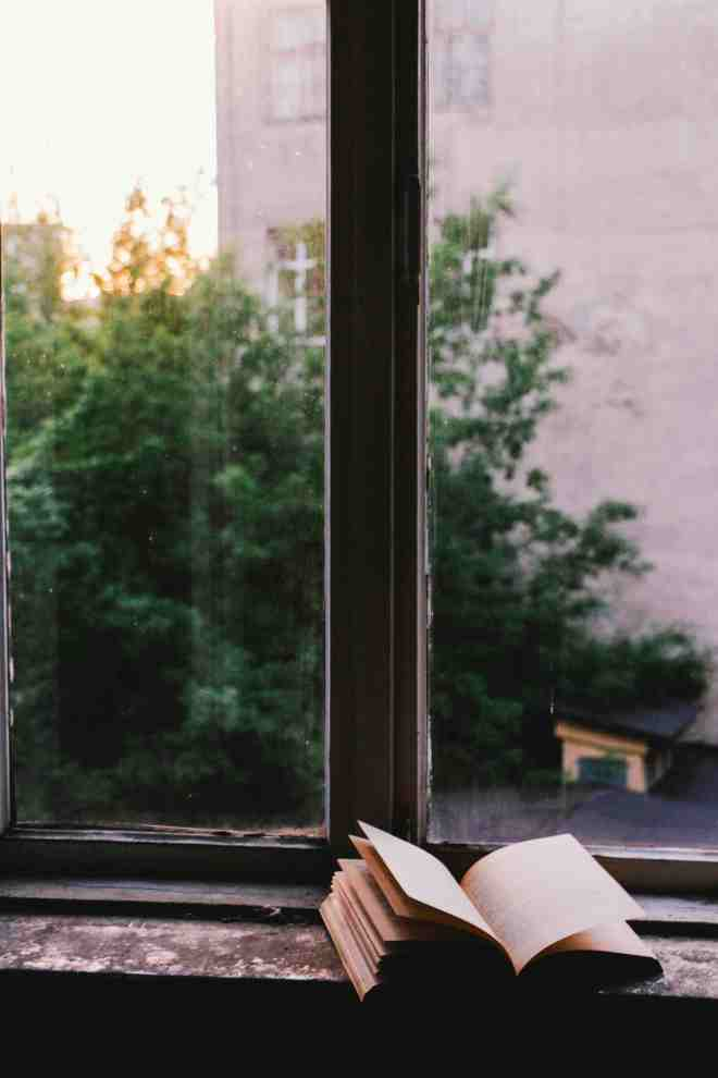 Book on windowsill with view outside