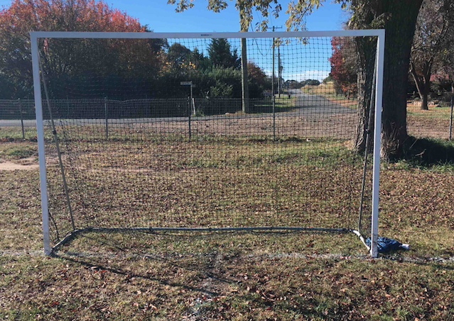 A picture of a football goal.