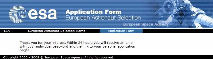 ESA grants permission to apply