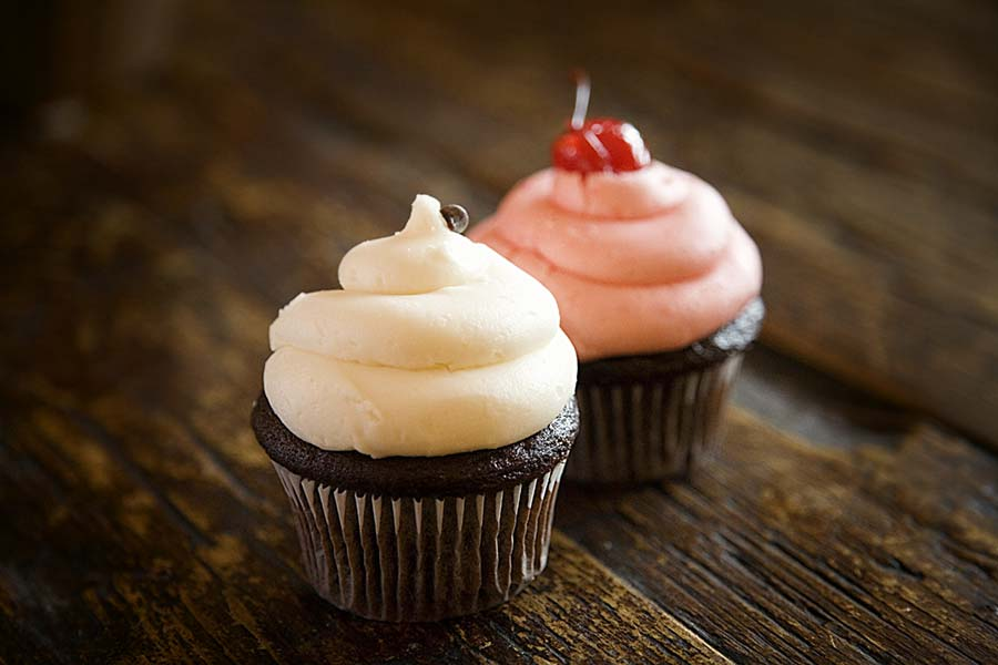 Vanilla and Cherry frosted cupcakes