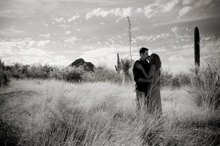 couple in grass b/w