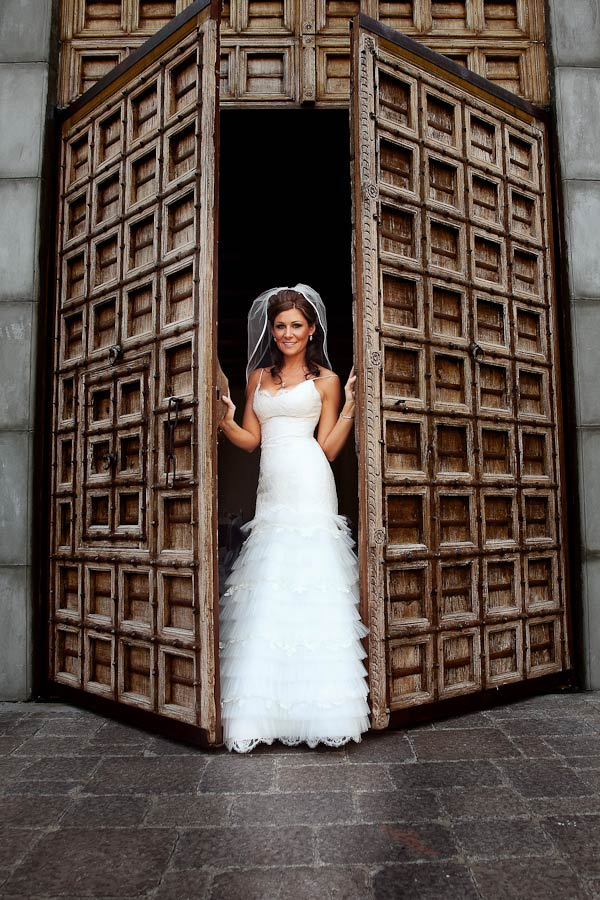 bride at the spanish doors