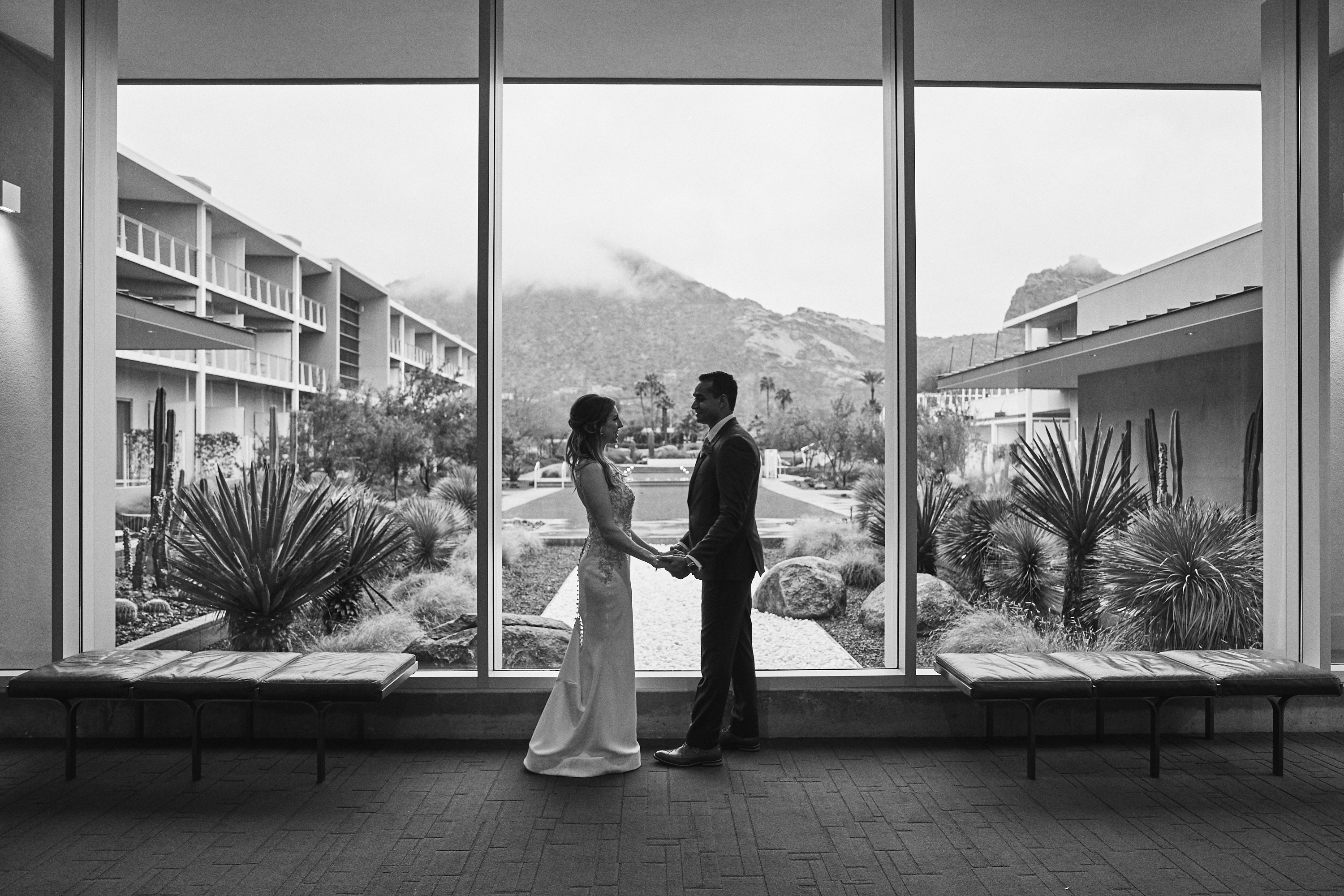 Wedding couple on a rainy day