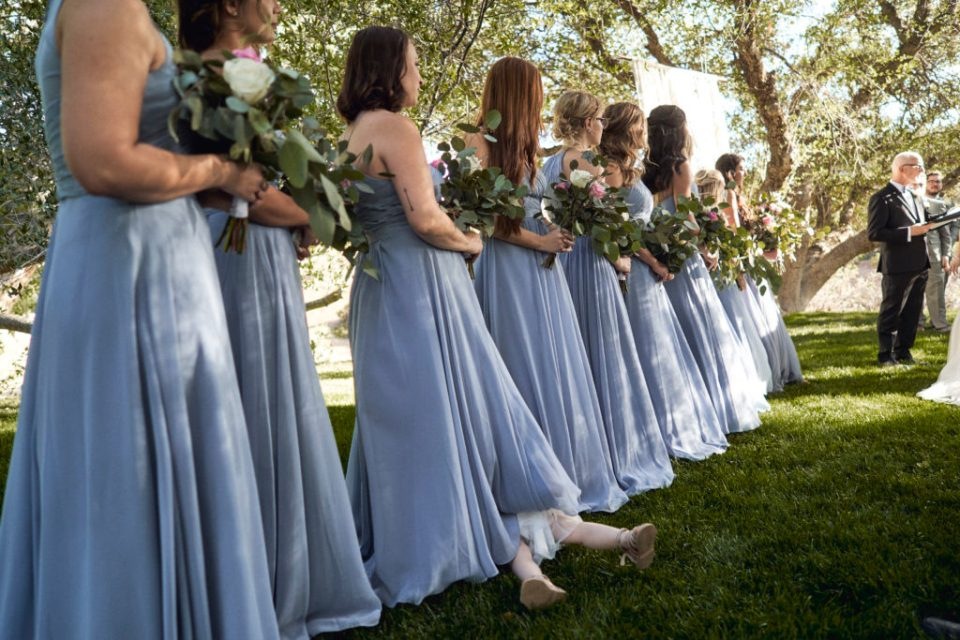 little flower girl with bridesmaids