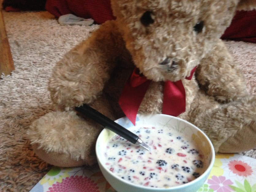 teddy bear eating breakfast