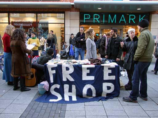A trade free zone outside Primark in Cambridge