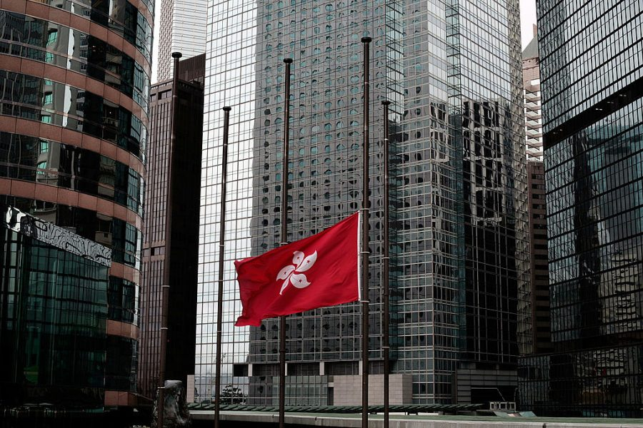 Hong Kong flag at half mast