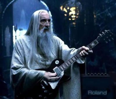 Christopher Lee with guitar