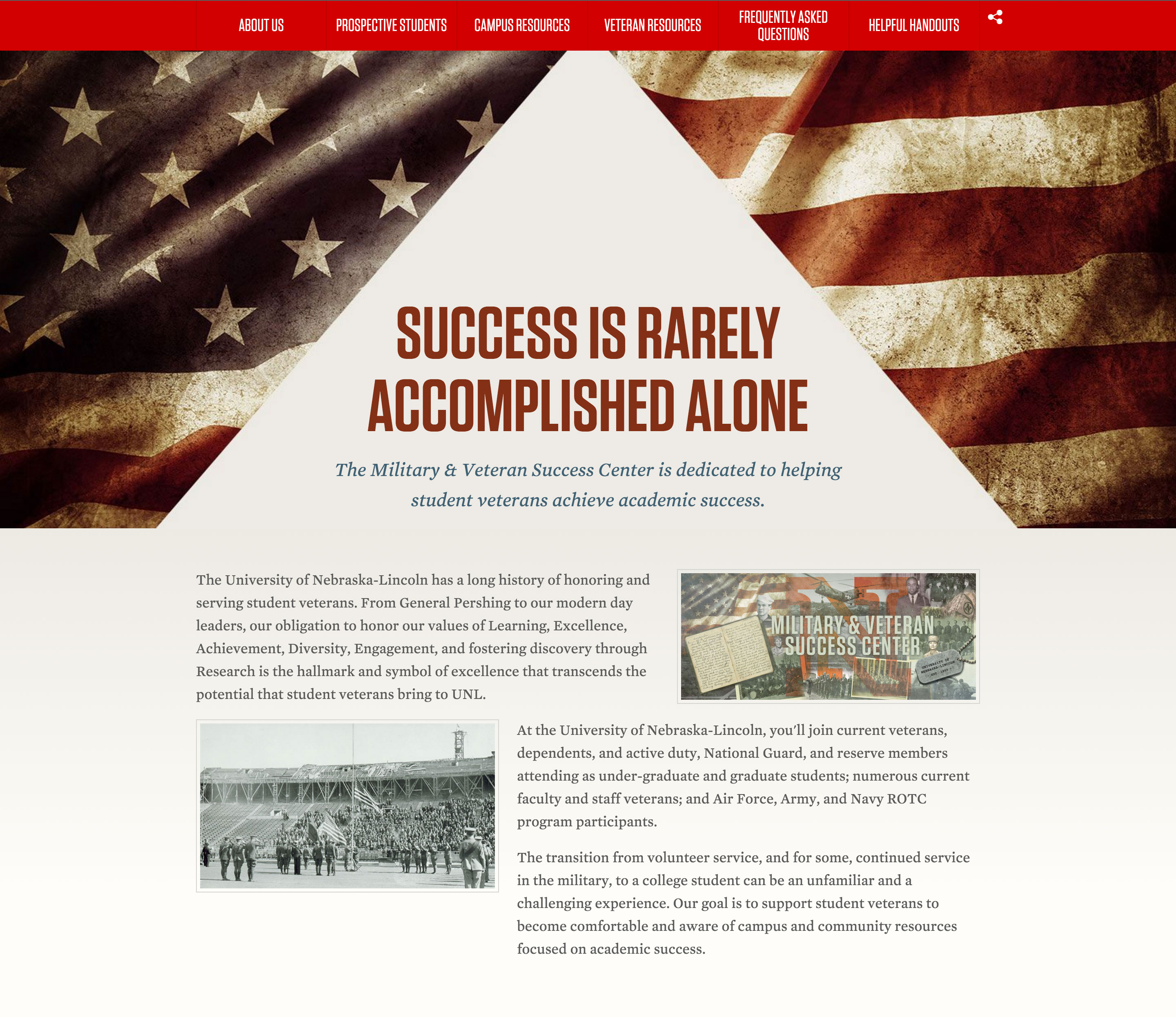 Top of the Military & Veteran Success Center home page
