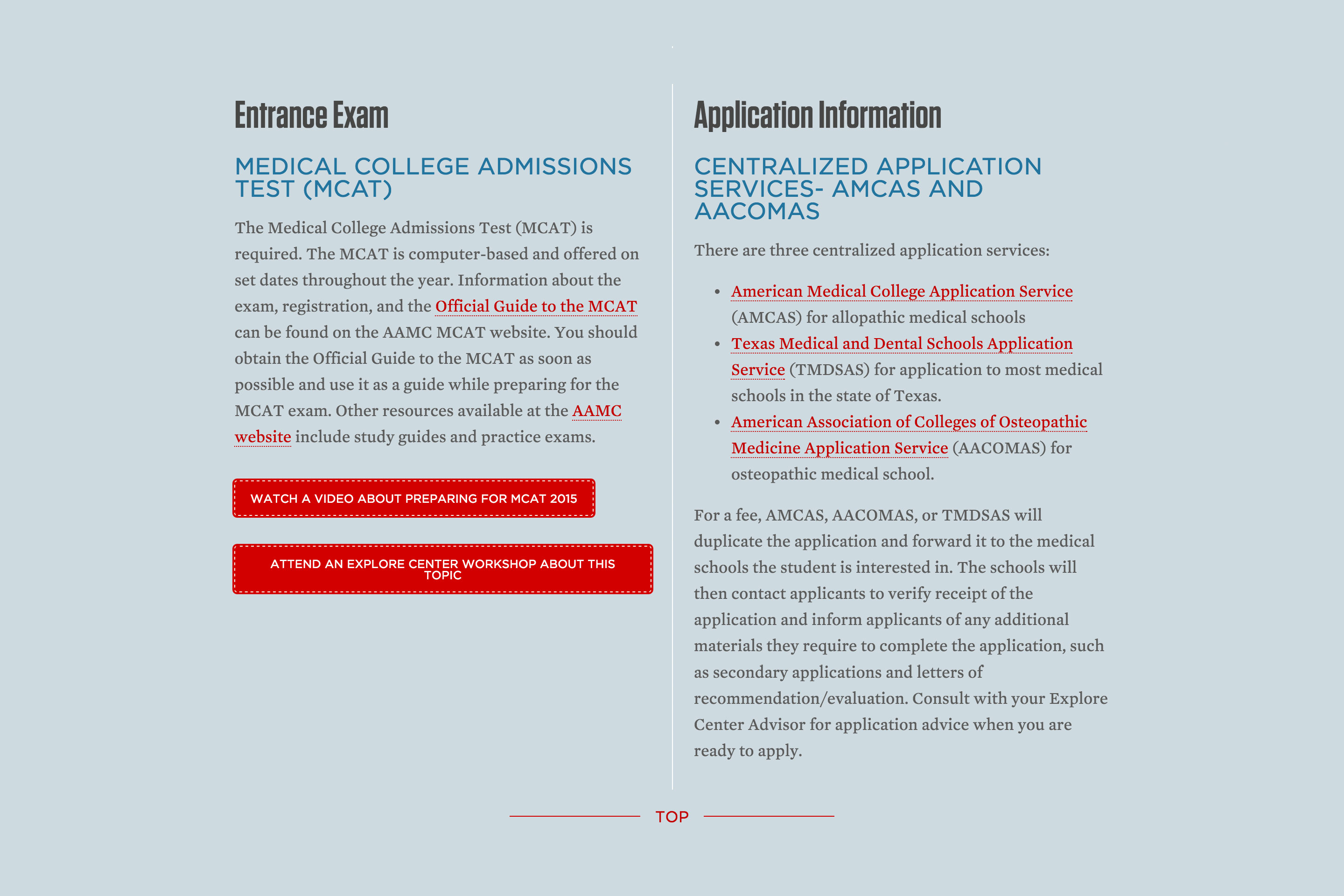 Entrance Exam and Application Information section of Explore Center's Pre-Med program