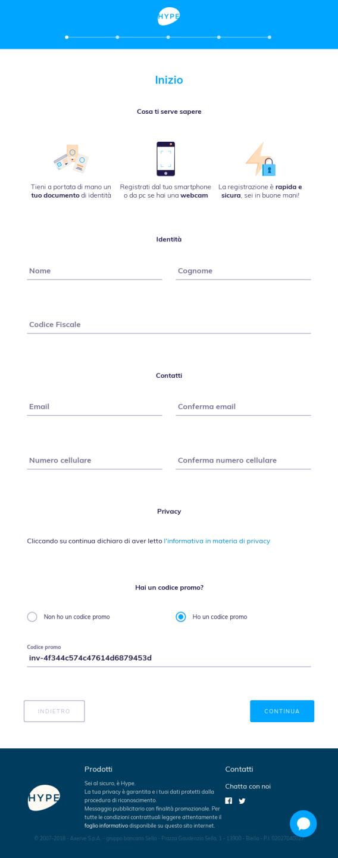 Pagina di registrazione