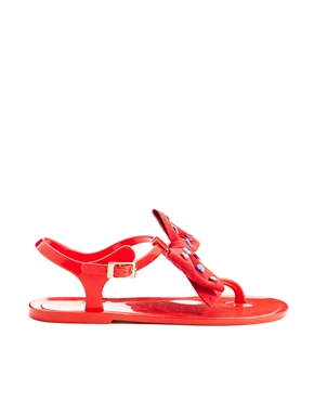 Love Moschino Heart Bow Red Jelly Flat Sandals $191.54 NOW $133.49