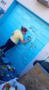 "Sketching ""Thinking in color"" on a bay door in Flagler Village's MASS District for their first offical Artwalk."