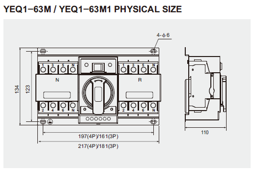 YEQ1-M Series Automatic Transfer Switch Rate current: 6-63A