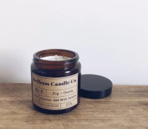 Fig scented soy wax candle jar with Kelham Candle Co hand made in Sheffield label