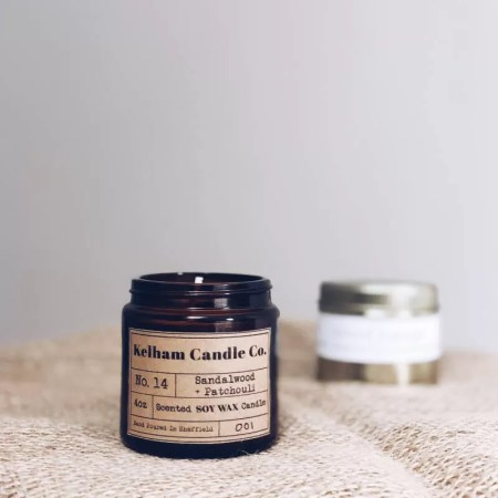 Sandalwood scented soy wax candle jar with Kelham Candle Co hand made in Sheffield label