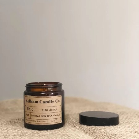 Wild Berry scented soy wax candle jar with Kelham Candle Co hand made in Sheffield label