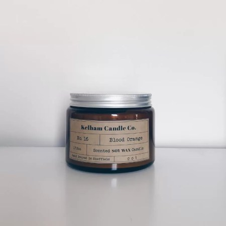 Large Blood Orange scented soy wax candle jar with Kelham Candle Co hand made in Sheffield label