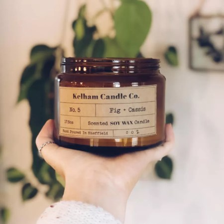 Large Fig scented soy wax candle jar with Kelham Candle Co hand made in Sheffield label