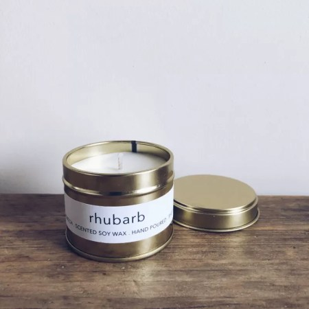 Rhubarb scented soy wax candle tin with Kelham Candle Co hand made in Sheffield label