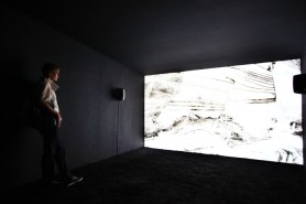 Jananne al-Ani, installation view of 'Shadow Sites II', 2011 (at Edge of Arabia), also shown in 'Excavations' at Hayward Project Space, London. Cinematography Noski Deville. Image courtesy EdgeofArabia.com